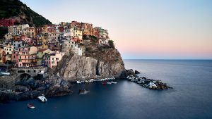 The beautiful village of Manarola in the Cinque Terre of La Spezia, Italy.